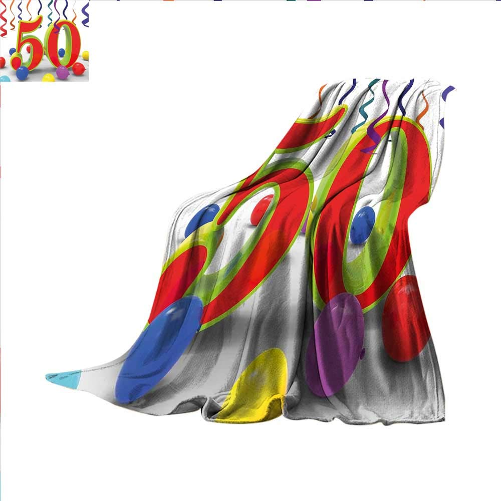 (スモールビーリー) smallbeefly 50歳の誕生日用織り模様ブランケット 愉快なキャッチフレーズ オールドエイジ 5番目の感覚 若いユーモラスで面白いカスタムデザイン 心地よいフランネルブランケット レッドブラック ホワイト 50