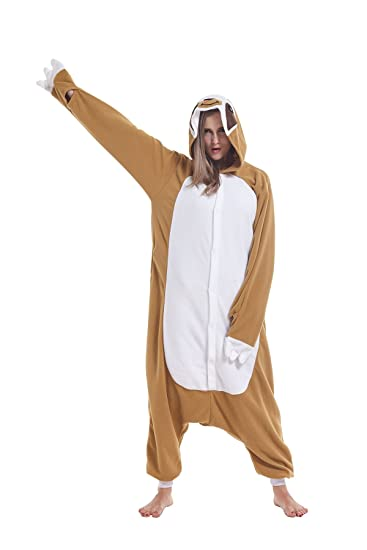 2b3875c20e cosMonsters Adult Sloth Animal Onesie Pajamas for Adults and Teens  Chirstmas Cosplay Costume(Brown