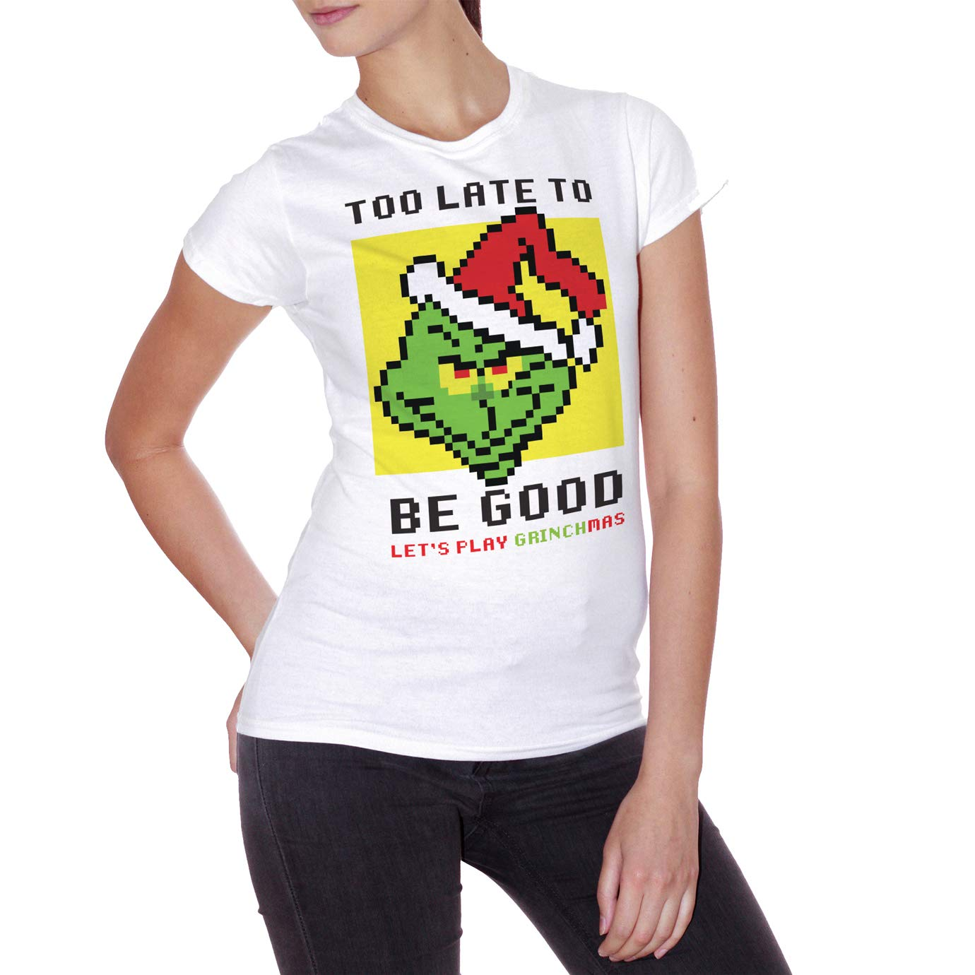Grafica Simpatica retr/ò Vintage in 8bit Lets Play Grinchmas T-Shirt Grinch Pixel Choose ur Color Idea Regalo di Natale