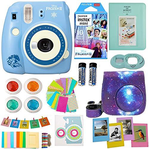 Fujifilm Instax Mini 9 Camera Frozen 2 + Accessories kit for Fujifilm Instax Mini 9 Camera Includes Instant Camera + Fuji Instax Film (10 PK) Galaxy Case + Frames + Selfie Lens + Album and More