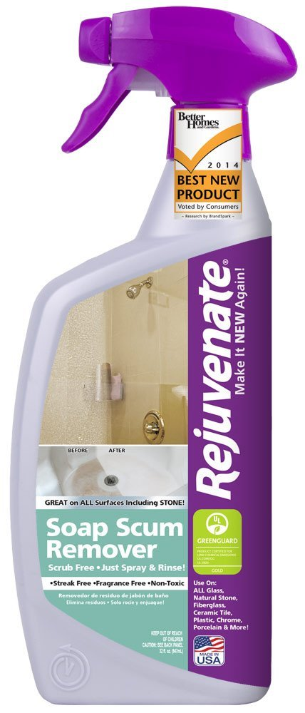 Rejuvenate Scrub Free Soap Scum Remover Non-Toxic Non-Abrasive Cleaning Formula - Spray and Rinse for Streak Free Finish on Glass, Ceramic Tile, Chrome, Plastic and More – 24 Ounce