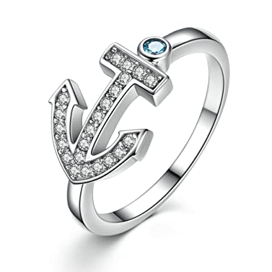 Amazon Com Ft Ring Sterling Silver Light Blue Stone Anchor Ring