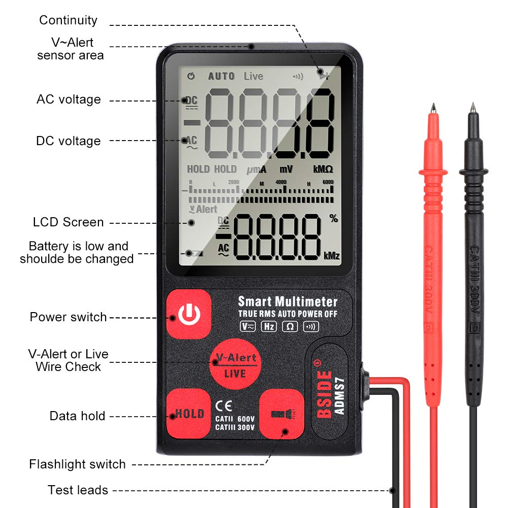 Portable Pocket Digital Large LCD Display Auto-Ranging Volt//Current//Frequency 6000 Counts with 2 Multimeter Test Leads Probes Handheld Kit for Home Multimeter Tester School Batteries Included Lab