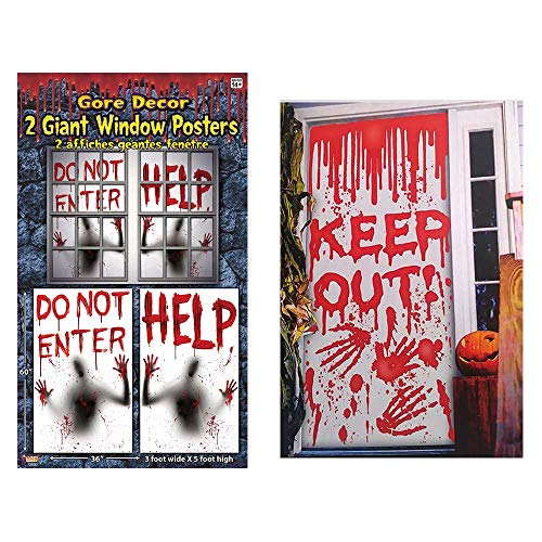 RDC Haunted House Halloween Bloody Decorating kit, Giant Window Posters and Door Decoration