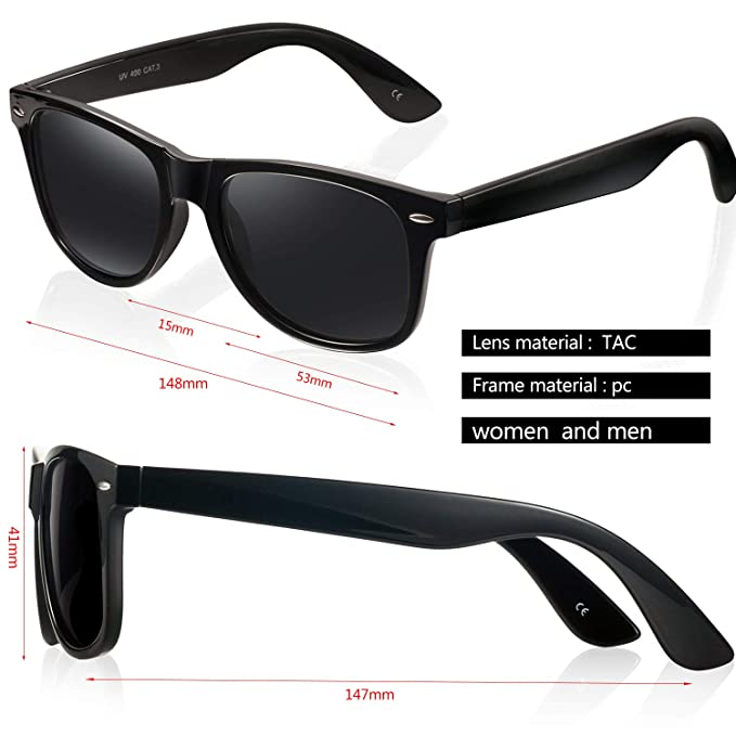 bb80624fd5335 Amazon.com  Polarized Sunglasses for Men and Women - Feirdio Classic Retro  Sun Glasses Pattern Frame Mens Sunglasses 2170 (Black Bright