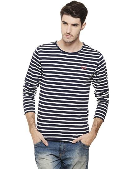 cbc8eadecb55 Rigo Men s Cotton Striped Full Sleeves T-Shirt  Amazon.in  Clothing ...