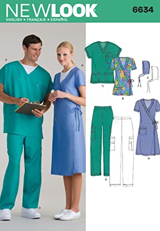 Amazon.com: New Look Sewing Pattern 6634 Miss/Men Scrubs, Size A ...