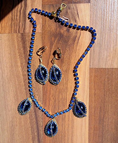 - Art Deco Blue Glass Cabochons with Vintage Blue Rhinestones on Gold Filigree Drops Blue Rhinesstone Necklace & Matching Earrings. One of a Kind!