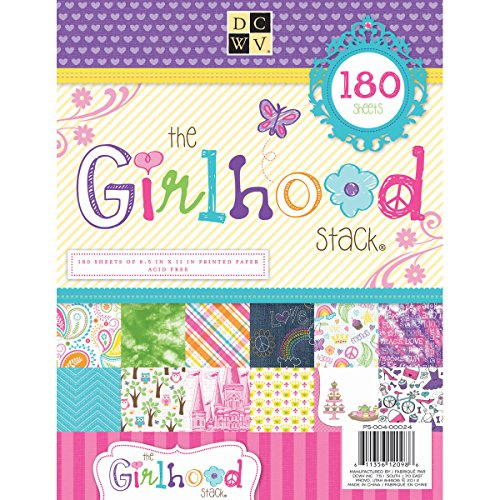 DCWV PS-004-00024 Cardstock Paper Girlhood Stack 8.5X11 180 Sheets Acid Free, (Decoupage Card)