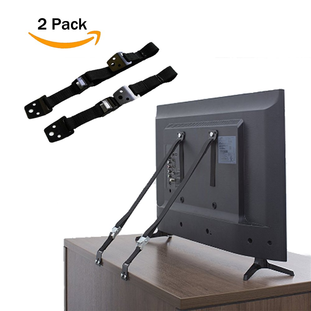 Anti Tip Furniture and TV Safety Straps | Earthquake Proof | Heavy Duty Mount Anchor For Baby Proofing Flat Screen TV, Dressers, Cabinets, Wardrobe, Bookcase | Bolts and Metal Parts Included - 2 Pack