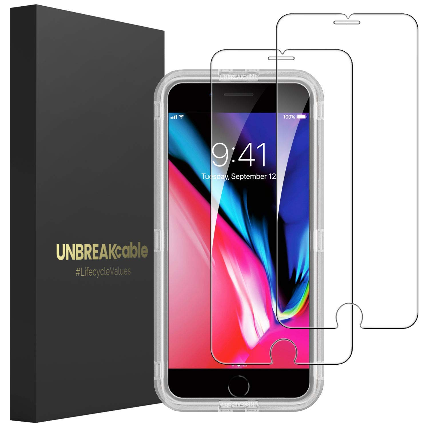 UNBREAKcable Screen Protector for iPhone 7 Plus 8 Plus [2-Pack] - Double Defense Series Premium Tempered Glass for iPhone 7 Plus/ 8 Plus, Case Friendly, Anti-Bubbles, Scratch-Resistant by UNBREAKcable