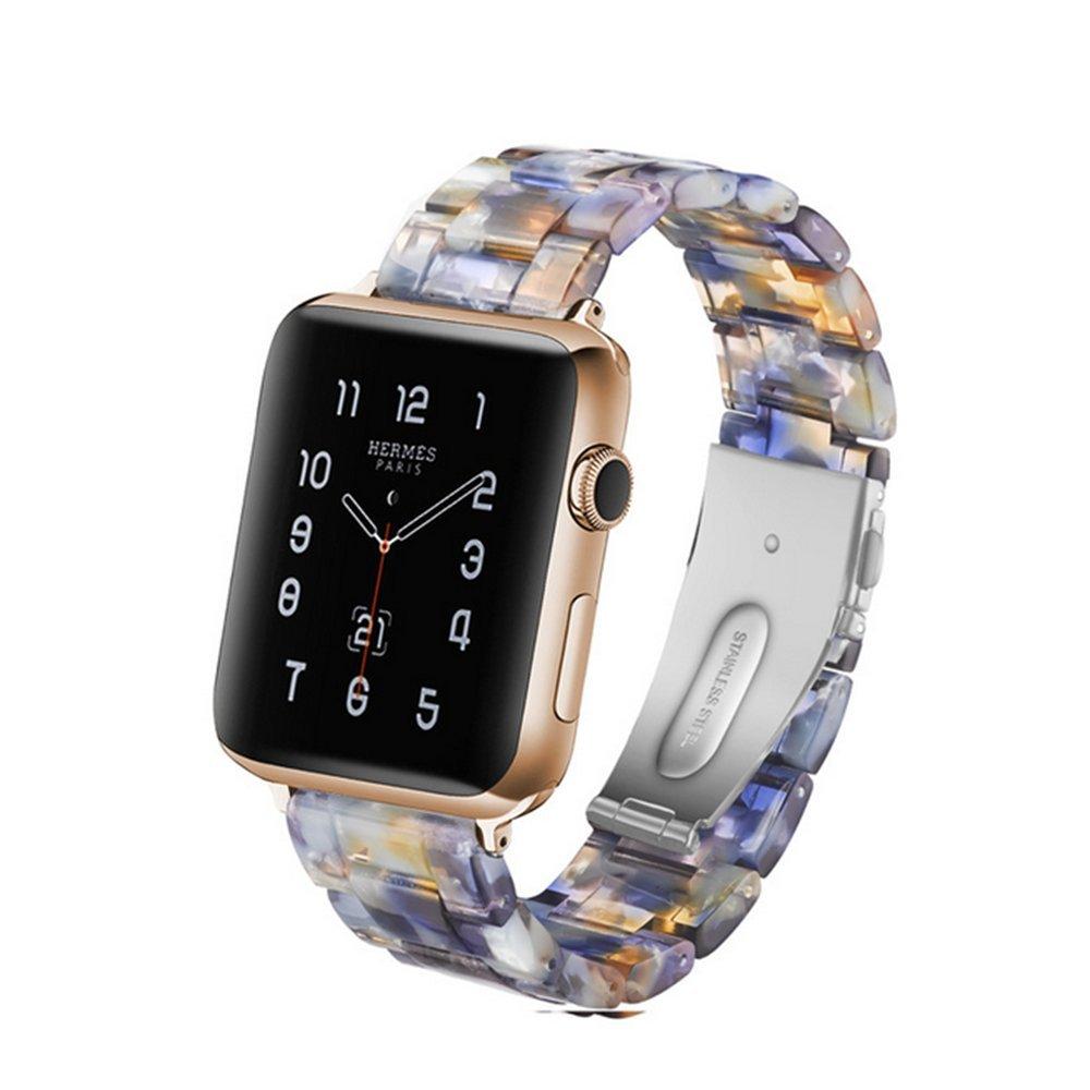 Herbstze for Apple Watch Band 38mm, Fashion Resin iWatch Band Bracelet with Metal Stainless Steel Buckle for Apple Watch Series 3 Series 2 Series 1 (Ice Blue, 38mm)
