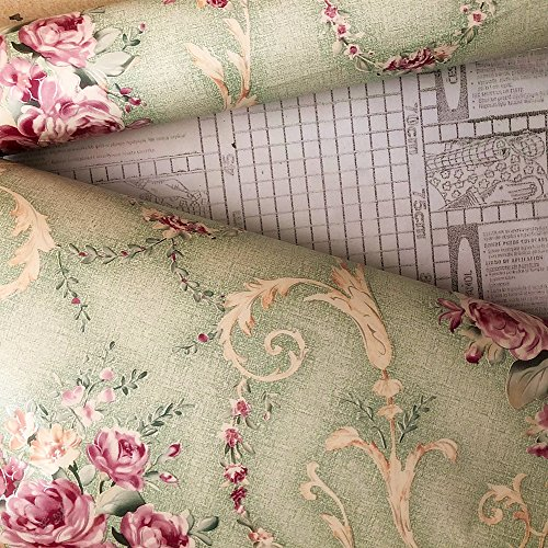 Moyishi Vintage Floral Rose Contact Paper Peel & Stick Shelf Liner Dresser Drawer Sticker 17.7''x78.7'' (Light Green)