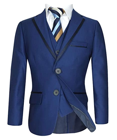 5bf30d675aa6 Boys Navy Blue Piping Suit Children Kids Suits Wedding Party Prom Communion  Boys Business Suit  Amazon.co.uk  Clothing
