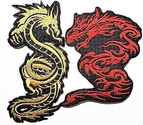 2 Piezas Chino japonés dragón Animal de la Suerte Banda Logo ...