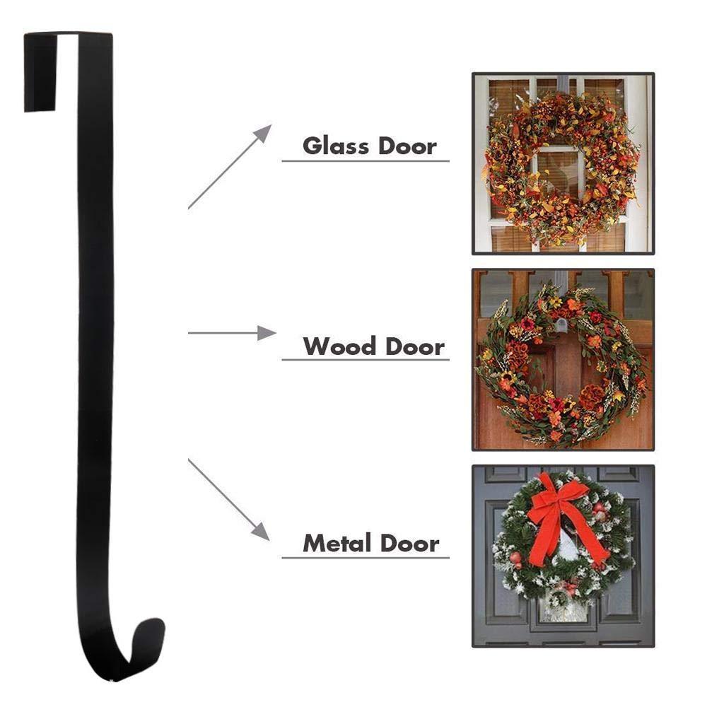 White Metal Wreath Hanger Christmas Wreath Hooks Door Hanger for Front Door of Bathroom Bedroom Foonee Door Wreath Hook