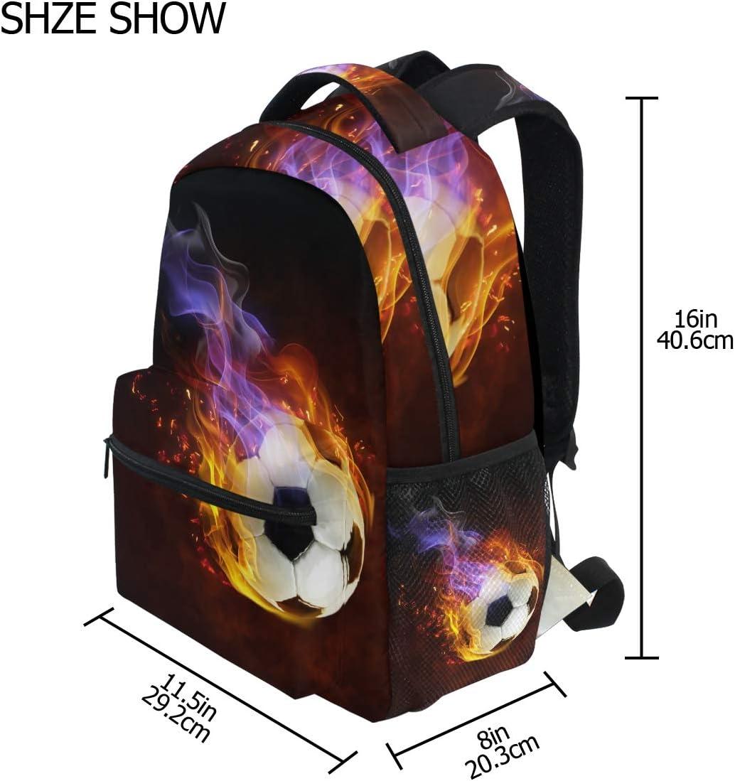 Fire Soccer Ball Backpacks Travel Laptop Daypack School Bags for Teens Men Women