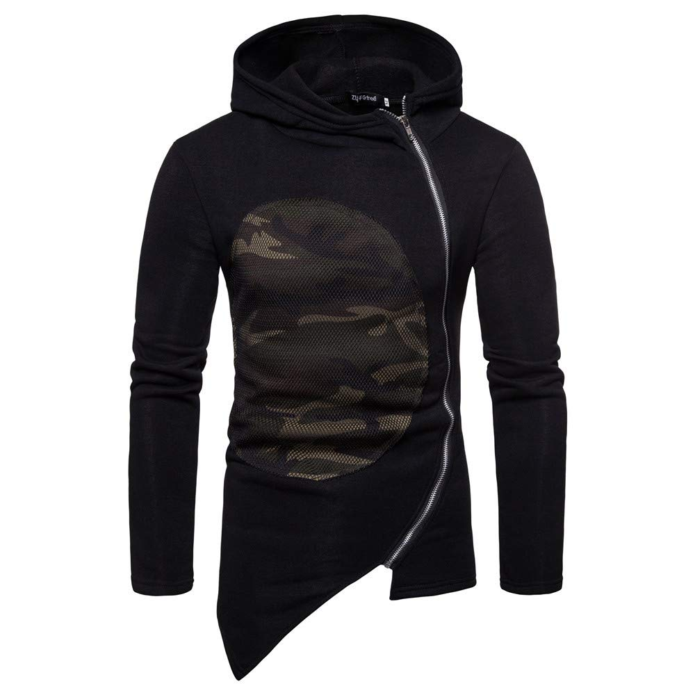 Mens Autumn Winter Camouflage Side Zipper Leisure Casual Collar Zipper Coat Allywit Men Jacket