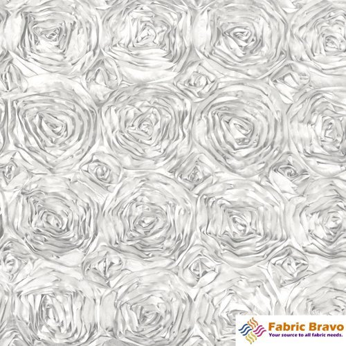 Satin Ribbon Rosette - White 54-Inch Wide Premium Satin Rosette Ribbon Fabric By the Yard.