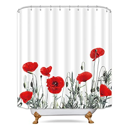Riyidecor Poppy Shower Curtain Red Floral Buds Watercolor Flowers Blooming Decor Fabric Bathroom Set Polyester Waterproof