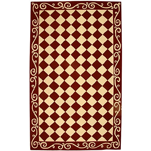 "Safavieh Chelsea Collection HK711C Hand-Hooked Burgundy and Ivory Premium Wool Area Rug (5'3"" x 8'3"")"