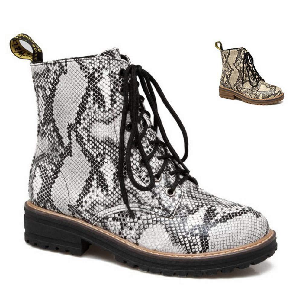 WSR Damen Stiefel - Snake Print Flache Runde Toe Stiefel Lace Martin Stiefel 34-43
