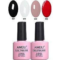 AIMEILI Soak Off UV LED Gel Nail Polish Multicolour/Mix Colour/Combo Colour Set Of 4pcs X 10ml - Kit Set 19