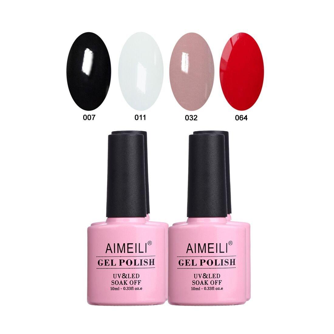 AIMEILI Gel Nail Polish Set Soak Off UV LED Gel Polish Black White Nude Red Multicolour/Mix Colour/Combo Colour Of 4pcs X 10ml - Gift Kit 19