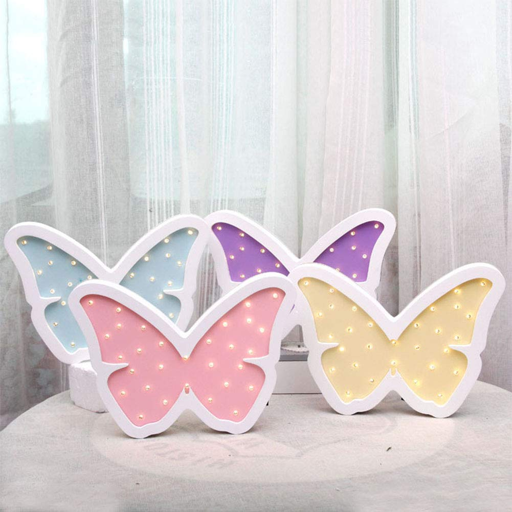 Pink Butterfly Cute Baby Sleeping Lamp Wooden Table Wall Decor Lights Kids Room Decorations LAFEINA Childrens Room Decorative Wood Lamp