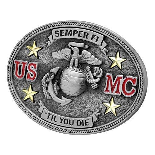 Marine Corps Belt - Buckle Rage Adult Unisex Semper Fi US Marine Corps Till Die Belt Buckle Silver