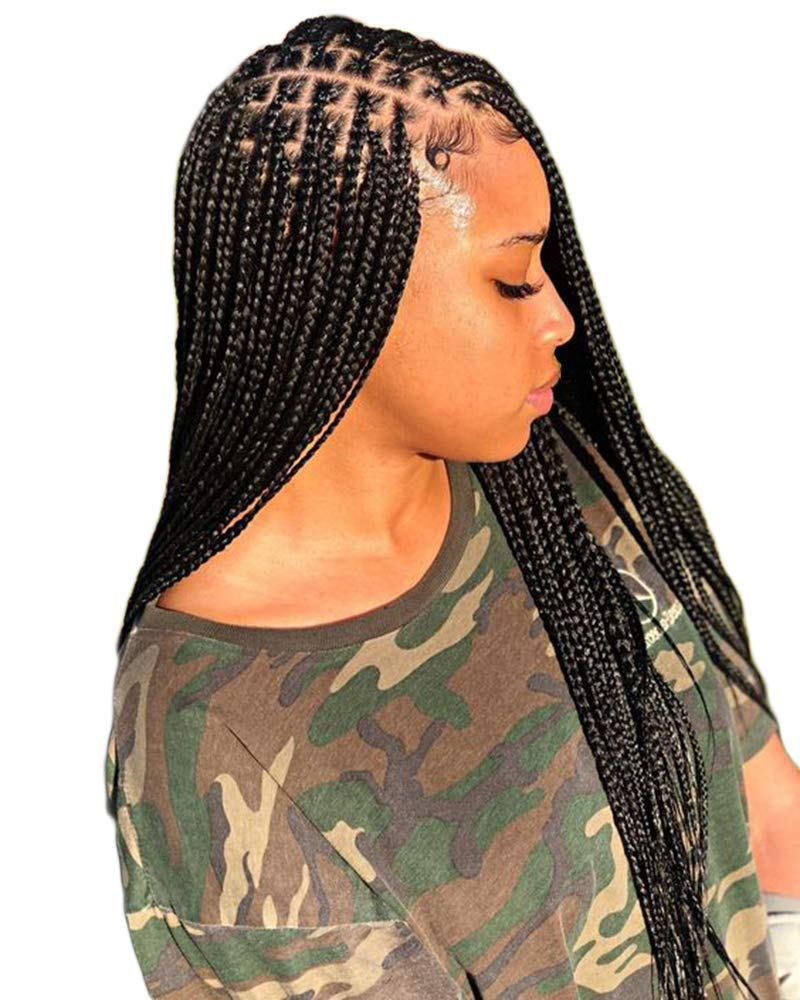 Amazon Com Benefly Full Lace Box Braided Wigs Knotless Micro Braids Wigs Synthetic Hair 1b Off Black Color With Baby Hair 1b Of Black Beauty