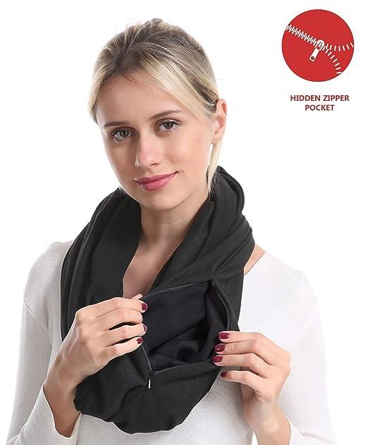 1dc1c6629a31 Zipper Travel Pocket Infinity Scarf - Black Women Men Convertible Hidded  zipper Scarf lightweight Thin Scarves