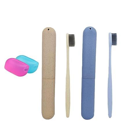 Abaría – 4 unidades portátil estuche con cepillo dientes y silicona funda pare cepillo dientes,