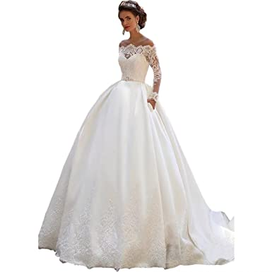 DingDingMail Long Sleeves Lace Wedding Dresses 2018 Ball Gowns Off ...