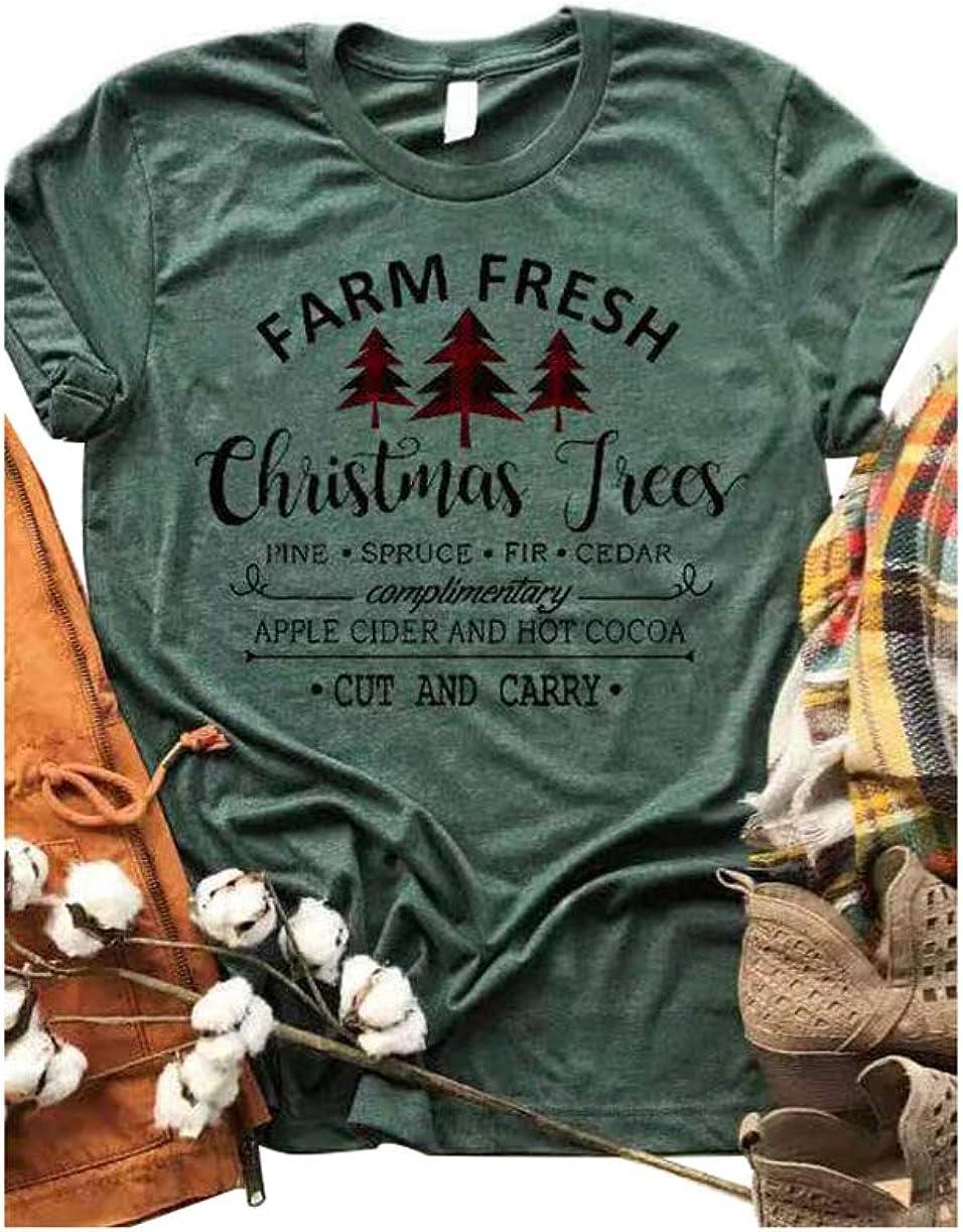 Women Farm Fresh Christmas Trees T Shirt Vintage Pine Spruce Fir Cedar Graphic Tees Funny Letter Print Tops Blouse