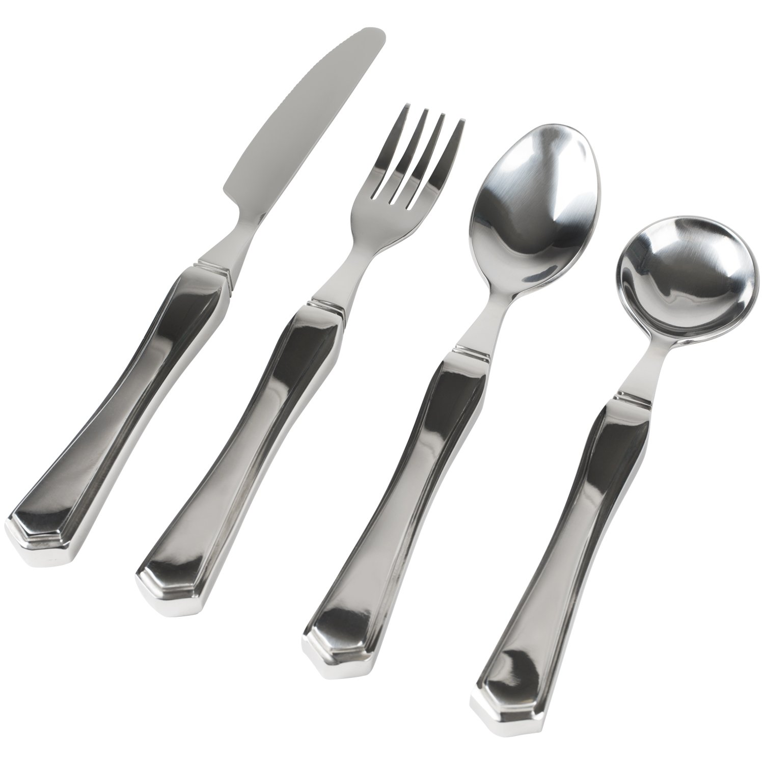 Vive Weighted Utensils - Heavy Weight Stainless Steel Eating Silverware Set fo Parkinsons Hand Tremors, Adults, Kids, Elderly Patients, Pediatrics, Children - Knife, Fork, Spoons Holder (4 Piece)