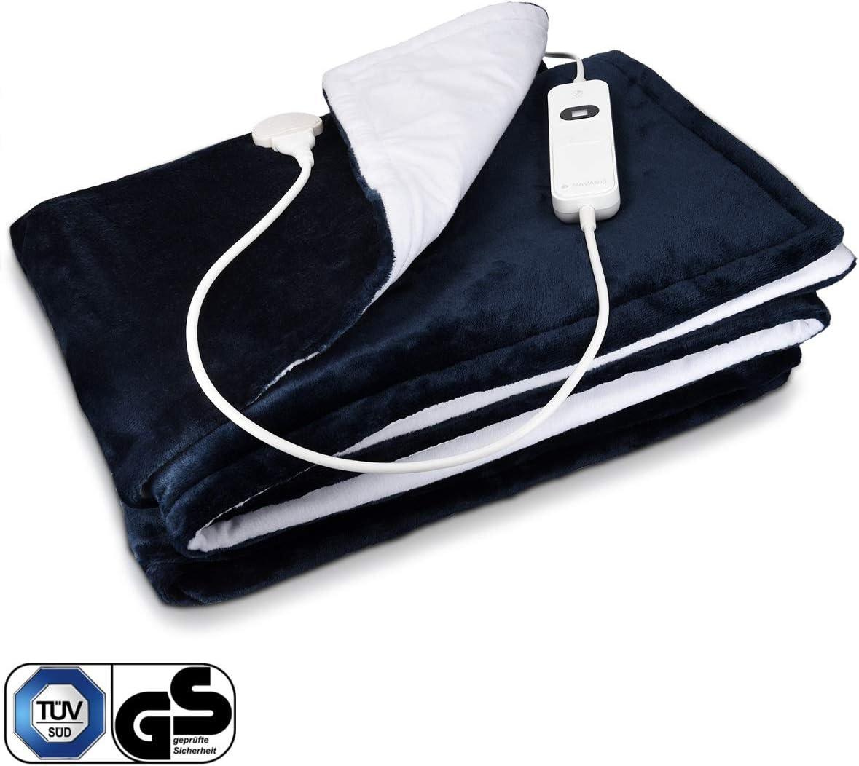 Navaris Couverture Chauffante Électrique 180 x 130cm - Plaid Doux Canapé Lit - Arrêt Automatique - Protection Surchauffe - Bleu et Blanc