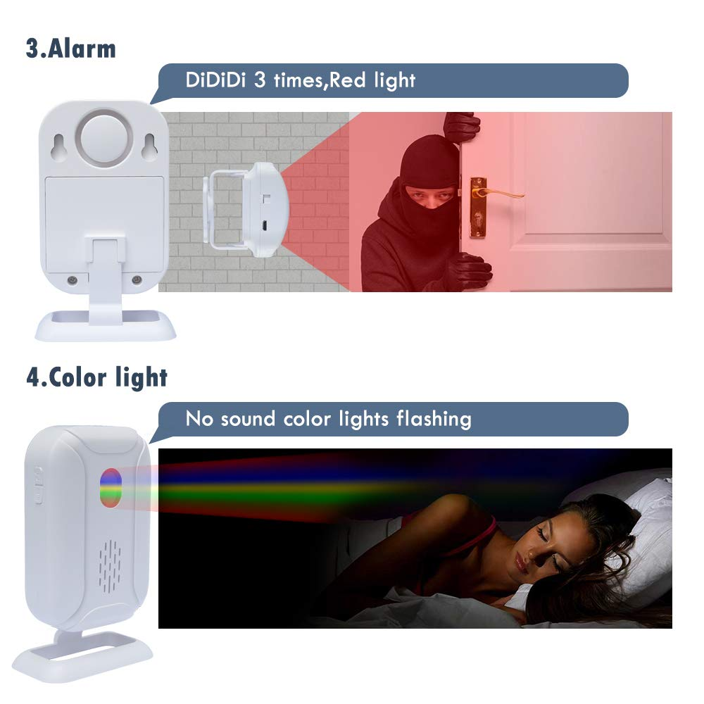 WiHoo Wireless Home Security Door Alarm, Wireless Driveway Alarm, Home Security System Alarm and Motion Sensor Alarm with Motion Detection Two-Way Audio Night Vision (Motion Alarm, White) by WiHoo (Image #4)