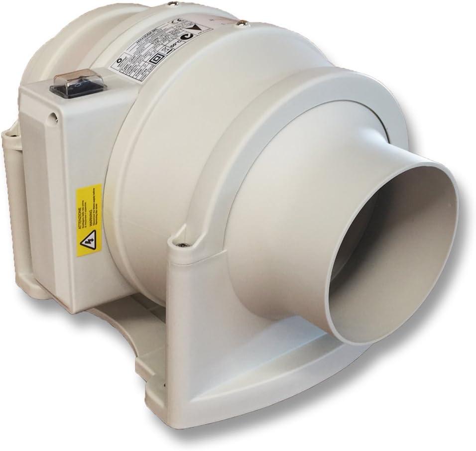 QMF200S de Aerauliqa – Ventilador de hélice centrífugo en línea diám. 198 mm – 120/145 W – 928/800 m3/h – cód. 002850 – 2 velocidades