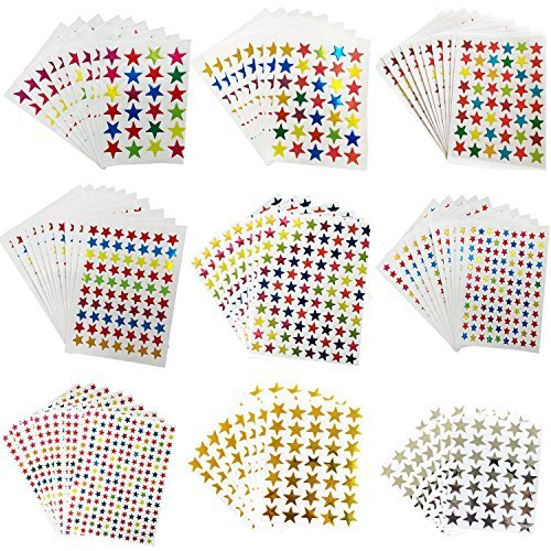Kenkio 8270 Count Colorful Star Stickers Self-Adhesive