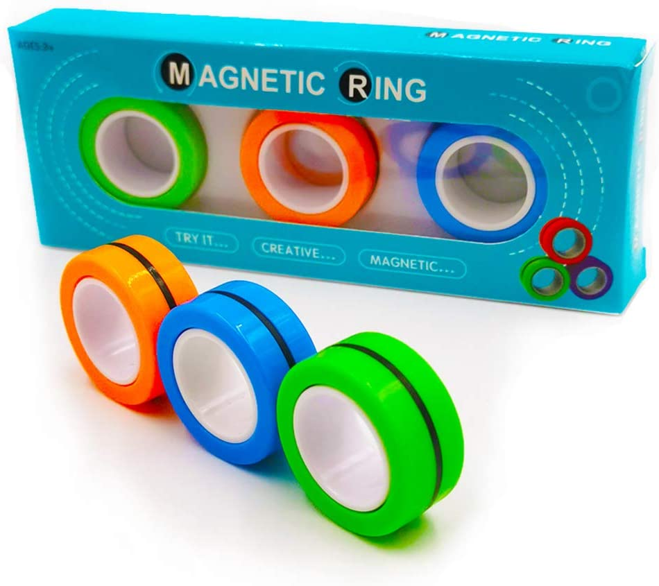 Fingers Magnetic Rings Toys Magnet Toy Ring Magnet Decompression Magnetic Magic Fidget Rings Magnetic Game Magic Magnetic Toy Durable Unzip Toys Magnetic Ring Magic Trick for Adults Kids