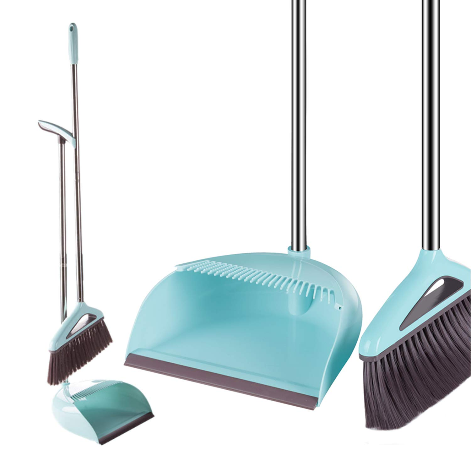 Topgalaxy.Z Broom and Dustpan Set - Angle Broom for Kitchen, Home and Lobby Broom and Dustpan Combo - Premium Brush and Dust Cleaner (Blue)
