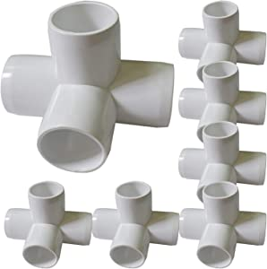 "8Pack 4-Way PVC Fittings, 1"" Furniture Grade Elbow Fitting for Building Heavy Duty PVC Furniture, SCH 40 4-Way Side Outlet Tees, PVC Conner Fittings for Greenhouse Shed Pipe Fittings Tent Connection"