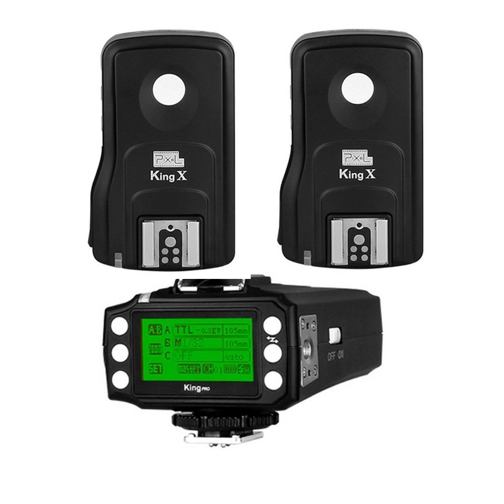 Pixel King Pro Radio Flash Trigger Kit 1 Transmitter 15 Channels with 2 Receivers 1/8000sTTL LED Screen Display for Canon Cameras and Flash Speedlite