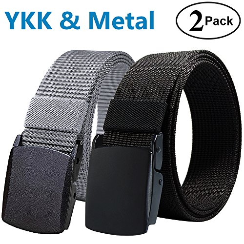 Nylon Canvas Tactical Pants - Fairwin Nylon Tactical Web Belt with YKK Plastic Buckle, Breathable Outdoor Canvas Webbing Belt for Men (Black&Grey)