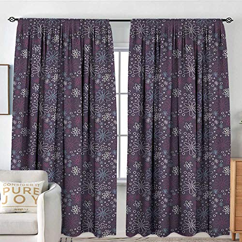 "NUOMANAN Curtains for Living Room Floral,Hand Drawn Style Daisy Flowers with Big and Little Circles Cute Romantic Garden, Multicolor,Decor Collection Thermal/Room Darkening Window Curtains 60""x84"""