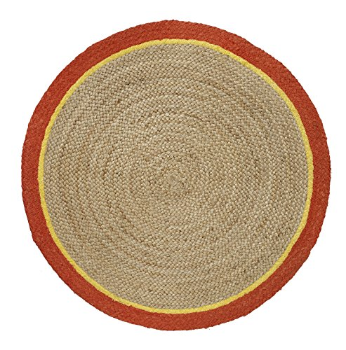 HF by LT Boho Market Ava Braided Round Jute Rug with Cotton Border, 3', Reversible, Durable and Sustainable Handwoven Jute, Mango, 4 Colors Available (Rugs Outdoor Pottery Indoor Barn)