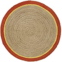 HF by LT Boho Market Ava Braided Round Jute Rug with Cotton Border, 3, Reversible, Durable and Sustainable Handwoven Jute, Mango, 4 Colors Available