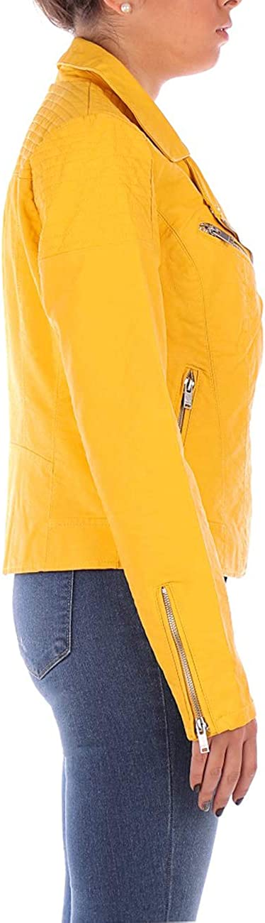 Only Flora Faux Leather Yellow Jacket