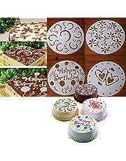 4 x Plantillas para Tarta Pastel Molde Flor Corazón Cumpleaños arte Fondant 20cm